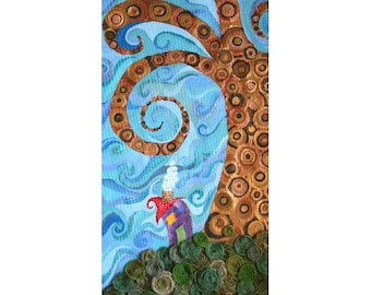 Quilted Fiber Art Acrylic Painting  - Whimsical House Metallic Brown Tree Fall Home Decor 27 x 19