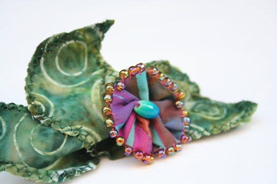 Barrette Beaded Pink Teal Fabric Flower Batik Green Fabric Leaves