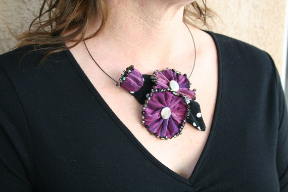 Statement Necklace Beaded Fabric Flower  - Soft Sculpture Flowers Purple Batik Black