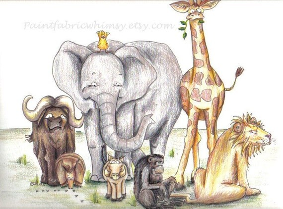 Safari Animals Original Illustration Matted Print - Colored Pencil and Ink
