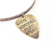 Metal Guitar Pick Necklace - Hand Stamped Jewelry - mens necklace, handmade jewlery, mens fashion, boho necklace, leather necklace