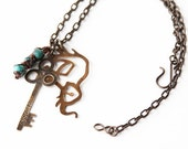 Elephant necklace cluster hand stamped key reading Sustain - Boho Chic Gift for Her