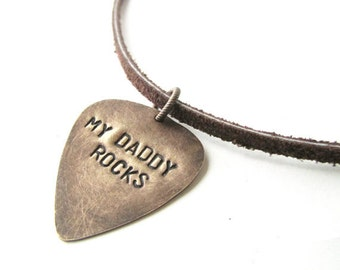guitar pick necklace, mens jewelry - my daddy rocks, gift for dad, fathers day, handmade jewelry, pic, daddy, custom stamped necklace