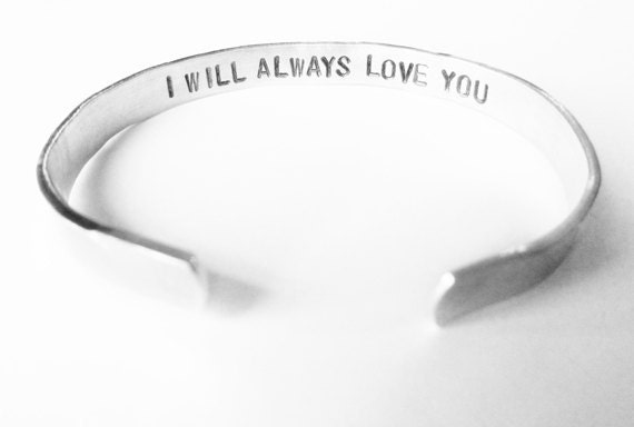 Personalized Bracelet Secret Message, anniversary jewelry gift - skinny silver cuff bracelet, custom, handmade, i will always love you