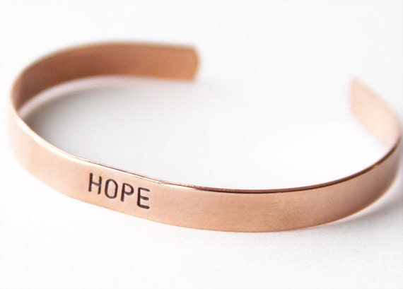 Hope Copper bracelet - hand stamped skinny cuff - personalized bracelet - recovery jewelry