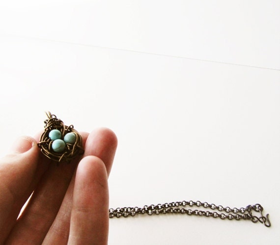 Bird Nest Necklace wire wrapped pendant on brass chain - mothers day gift idea