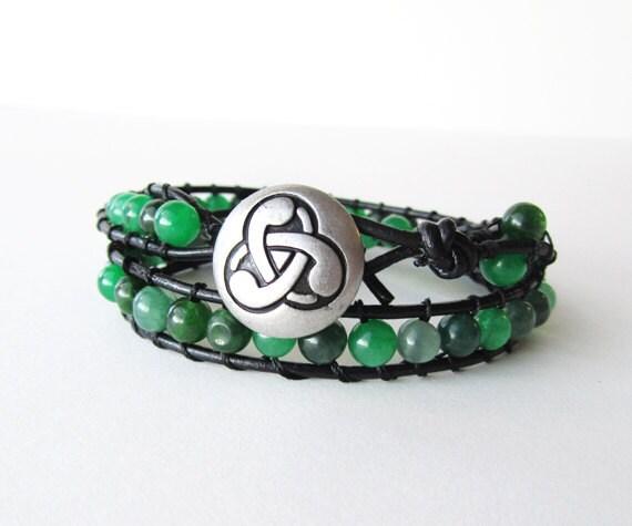 Celtic Wrap Bracelet with green quartz beads black leather bracelet - Ready to Ship