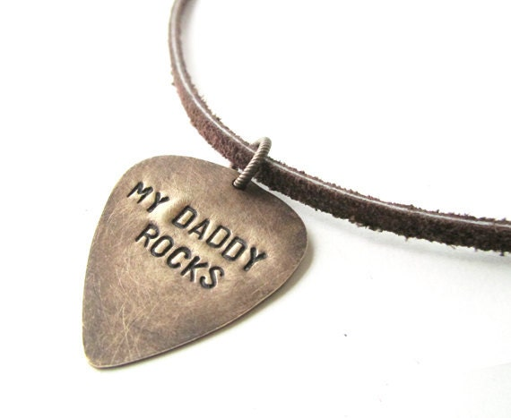 guitar pick necklace, mens jewelry - my daddy rocks, gift for dad, fathers day, handmade jewelry, pic, daddy