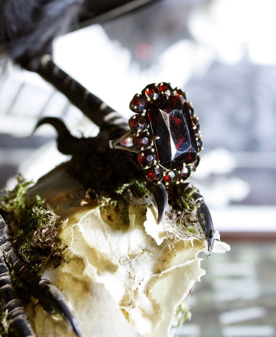 Reserved for RococoDandie-----------------Antique Garnet Mourning Ring