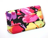 Small Clutch - Large Flowers in Fuchsia, Green, Pink, Purple, Red, and Yellow on Black  - Ready to Ship