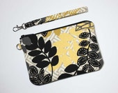 Wristlet Clutch - Black, Gold, Gray, and Yellow Leaves with Detachable Wrist Strap - Ready to Ship