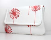 Clutch - Coral Dandelions on White with 2 Pockets - Optional Wrist Strap or Shoulder Strap - Made to Order
