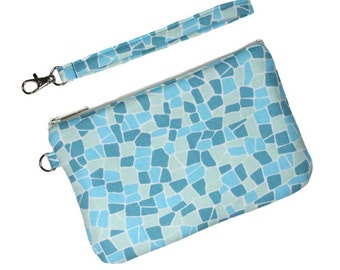 SALE - Zipper Wristlet Clutch - Blue, Light Green, and Turquoise with Detachable Wrist Strap with 2 Pockets - Ready to Ship