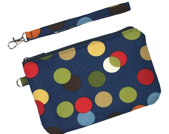 SALE - Zipper Wristlet Clutch - Multicolored Dots on Navy Blue - Detachable Wrist Strap and 2 Pockets - Ready to Ship