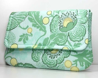 SALE - Clutch - Yellow and Green Flowers and Leaves with 2 Pockets - Amy Butler Fresh Poppies Fabric - Ready to Ship