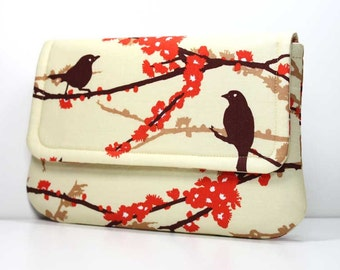 Clutch - Brown Sparrows on Dark Cream with 2 Pockets - Joel Dewberry Fabric