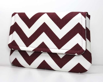 Burgundy or Maroon and White Chevron Clutch with 2 Pockets - Made to Order