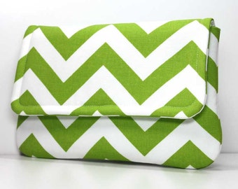Clutch Purse - Green and White Chevron with 2 Pockets - Made to Order