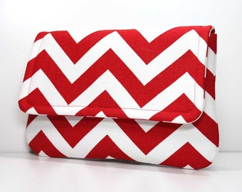 Clutch - Red and White Chevron with 2 Pockets - Made to Order