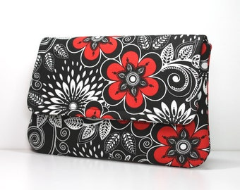 Clutch Purse - Red Flowers on Black and White with 2 Pockets - Made to Order