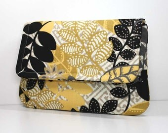 Clutch Purse - Black, Gold,and Gray Leaves on Cream Fold Over Clutch with 2 Pockets - Optional Detachable Wrist Strap