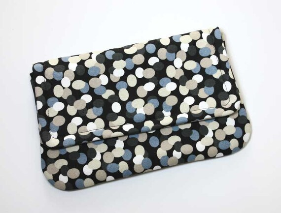 Small Clutch - Dark Gray, Ivory, Steel Blue, and Tan Dots on Black - Ready to Ship