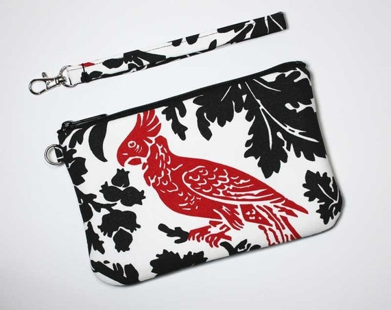Wristlet Clutch - Red Parrot on Black and White with Detachable Wrist Strap - Ready to Ship