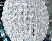 Large Glass Beaded Bulb Cover, Pendant Lamp Shade, Ceiling Light Shade, Beaded Lamp Shade For Standard Light Bulbs