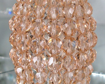 Petite Pink Blush Beaded Light Bulb Cover, Chandelier Shade, Faceted Glass Light, Sconce Shade, Candelabra Light, Shabby Chic Lamp Shade