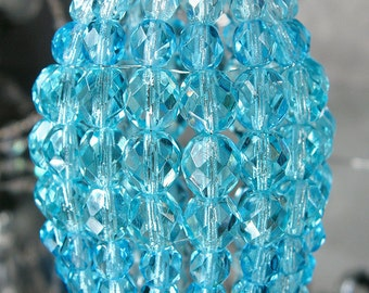 Petite Aqua Turquoise Beaded Light Bulb Cover, Chandelier Shade, Sconce Shade, Candelabra Lighting, Lamp Shade, Cottage Style Lighting