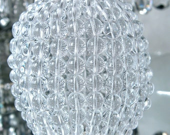Large Pressed Glass Beaded Bulb Cover, Pendant Lamp Shade, Ceiling Light Shade, Beaded Lamp Shade For Standard Light Bulbs