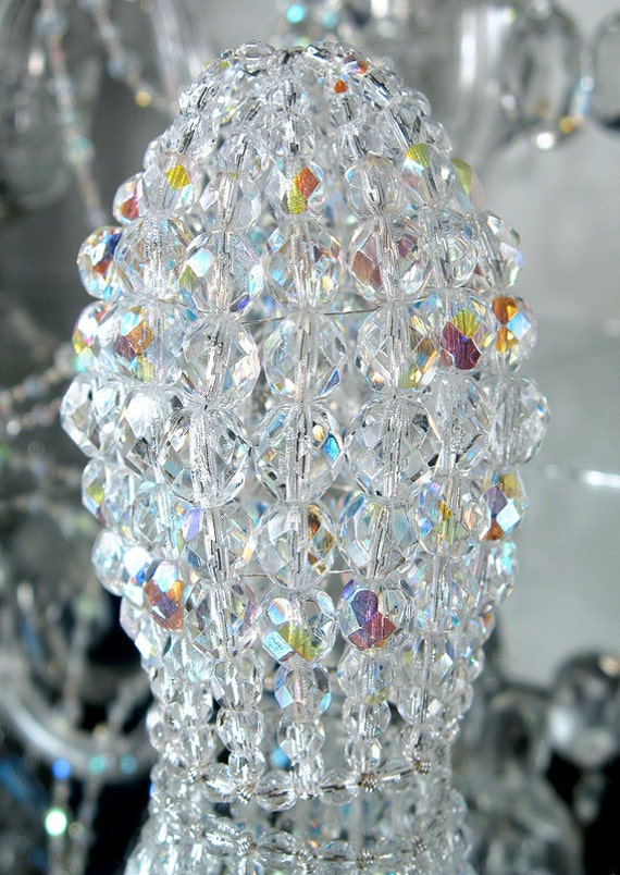 Small Beaded Chandelier Light Bulb Cover, Iridescent Faceted Glass, Chandelier Shade, Sconce Shade, Candelabra Shade, Lamp Shade