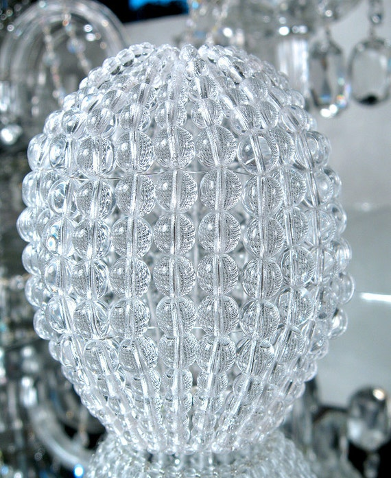 Large pressed glass beaded bulb cover pendant lamp shade like this item mozeypictures Image collections