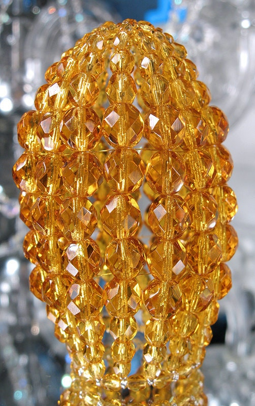 Small Faceted Topaz Beaded Light Bulb Cover Chandelier Shade