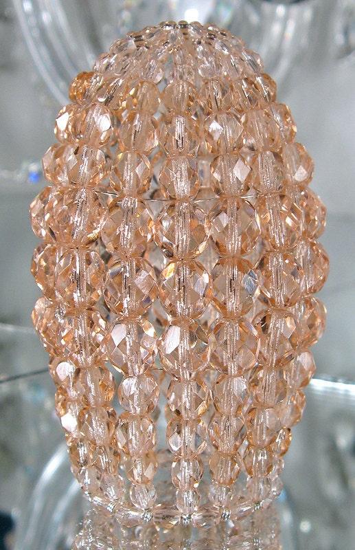 Petite Pink Blush Beaded Light Bulb Cover Chandelier Shade