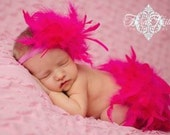 Hot Pink Feather Diaper Cover Bloomer & Headband, Valentine Photo Prop, Hot PInk Feather Tutu, New Baby Photo Prop, Baby's 1st Valentine