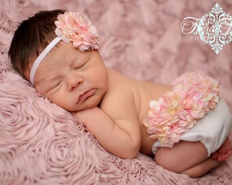 Newborn Photo Outfit, Pink and Cream Hydrangea Diaper Cover & Headband Set, Hydrangea Bloomer, Newborn Girl Photo Prop, Birth Announcement