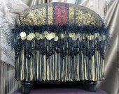 Foot Stool in Black Gold Burgundy with beads coin trim and fringe