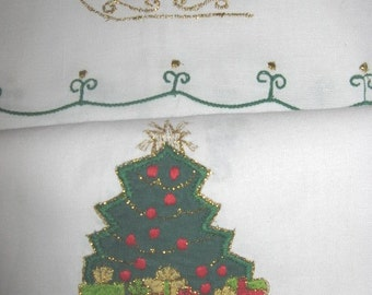 Christmas Hand  or Tea Towels Appliqued