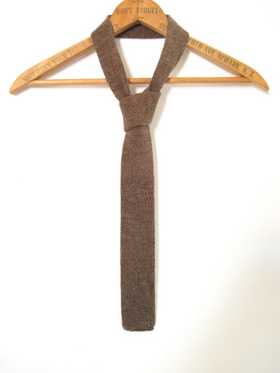 Light Brown Wool Knit Tie. Square Bottom. Made in the USA