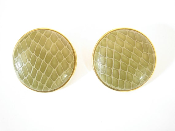 Large Olive Green Snake Skin Print Leather and Gold Tone Earrings. 1980s Round Earrings
