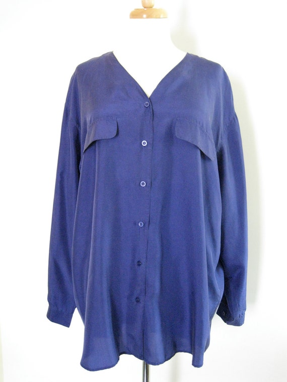 Royal Blue Silk Button Up Tunic Blouse. Size Medium - Large. Over Sized Fit