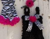 Black bright pink and zebra petti romper set.