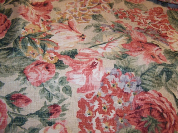 3 1/2 YDS Vintage Collection Waverly Lookout Mountain Cabbage Roses Fabric....Reduced...Was  27.99