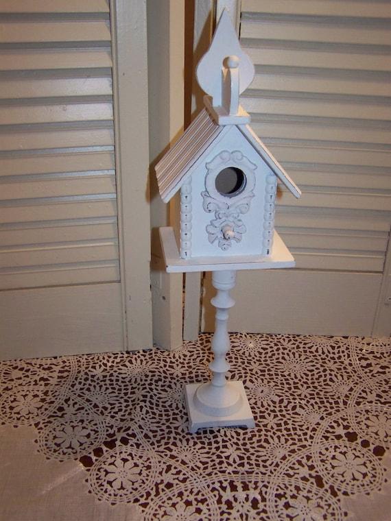 Wood Birdhouse On Metal Pedestal Decorative Small Bird House