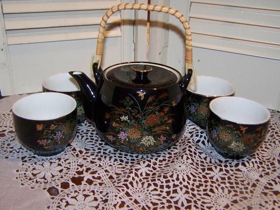Mid Century Vintage Japan Saki Tea set, Bamboo handle Teapot, black hand painting,4 cups...Reduced..Was..24.99