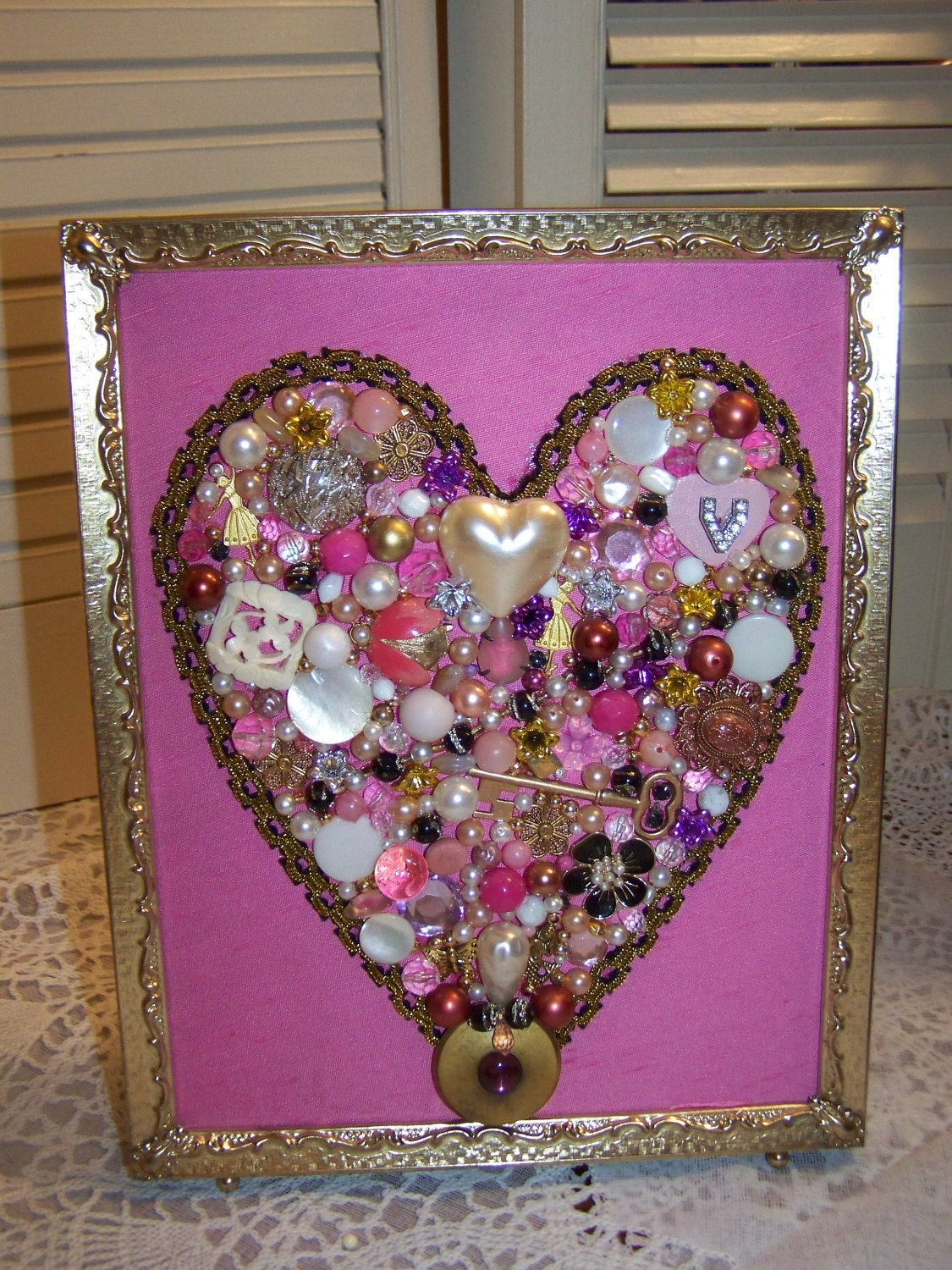 Jewelry Art Valentine Heart In Frame Jeweled One Of A Kind