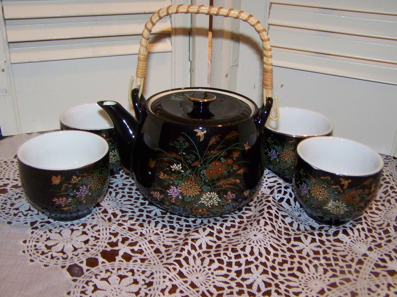 Mid Century Vintage Japan Saki Tea Set Bamboo Handle Teapot