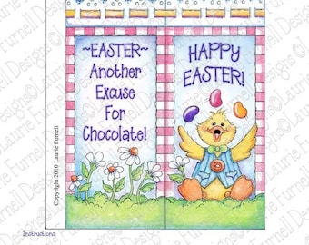 Easter Candy Bar wrapper, Laurie Furnell, Easter Printable, Easter Duck, Candy Bar Wrapper, Easter Hershey(TM) Candy Bar Wrapper Printable