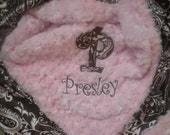 Baby Girl Blanket - Pink and Brown Paisley Charmeuse Satin and Minky Blanket - PERSONALIZED